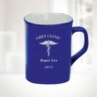 10oz Blue Ceramic Round Corner Mug