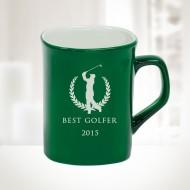 Green Ceramic Round Corner Mug, 10oz