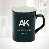 10oz Black Ceramic Round Corner Mug