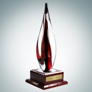 Art Glass Black Contemporary Award with Rosewood Base