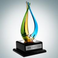 Art Glass The Tripod Award with Piano Finish Blackwood Base