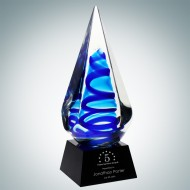 Art Glass Blue Ocean Spiral Award