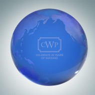 Blue Globe Paperweight