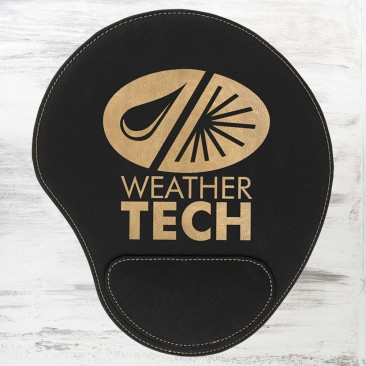 Black/Gold Leatherette Mouse Pad
