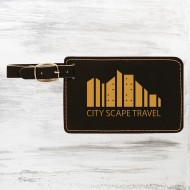 Black/Gold Leatherette Luggage Tag