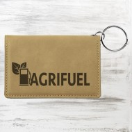 Light Brown Leatherette Keychain ID Holder