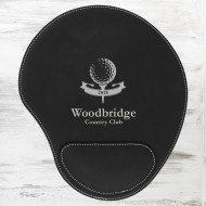 Black/Silver Leatherette Mouse Pad