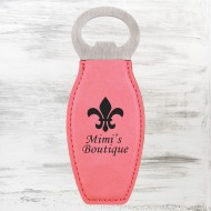Pink Leatherette Bottle Opener with Magnet