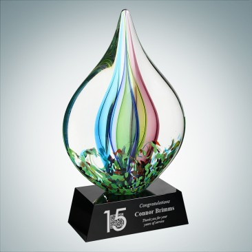 Art Glass Coral Award with Black