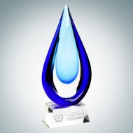 Art Glass Aquatic Award with Clear Base