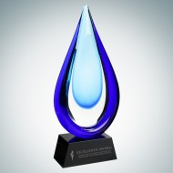 Art Glass Aquatic Award with Black Base