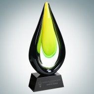 Art Glass Goldfinch Award with Black Base