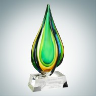 Art Glass Rainforest Award with Clear Base