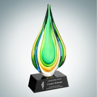 Art Glass Rainforest Award with Black Base