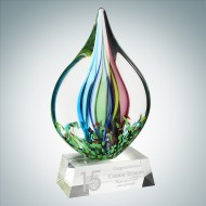 Art Glass Coral Award with Clear Base