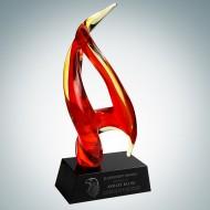 Art Glass Inferno Award with Black Base