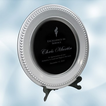 Silver/Black Award Plate with Ac
