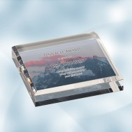 Color Imprinted Photo Acrylic Square Paperweight