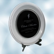 Silver/Black Acrylic Award Plate with  Stand