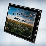 Color Imprinted Photo Floating Acrylic on Blackwood Piano Finish Horizontal/Vertical Wall Plaque