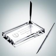 Crystal Single Silver Pen Set