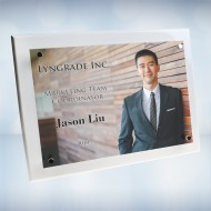 Color Imprinted Photo Floating Acrylic on White Wood Piano Finish Horizontal/Vertical Wall Plaque