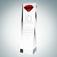 Embedded Red Diamond Crystal Award