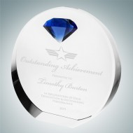 Circle Award with Blue Diamond Accent
