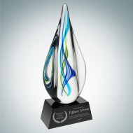 Art Glass Teal Aurora Award with Black Base