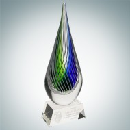 Art Glass Ocean Green Narrow Teardrop Award