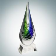 Art Glass Ocean Green Narrow Teardrop Award