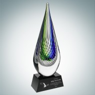 Art Glass Ocean Green Narrow Teardrop Award with Black Base