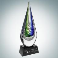 Art Glass Ocean Green Narrow Teardrop Award with Black Base