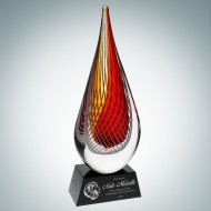 Art Glass Red Orange Narrow Teardrop Award with Black Base