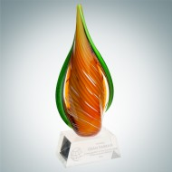 Art Glass Orange Creamsicle Award with Clear Base
