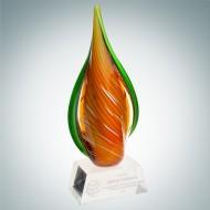 Art Glass Orange Creamsicle Award with Clear Base