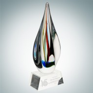 Art Glass Candy Stripes Award with Clear Base