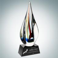 Art Glass Candy Stripes Award with Black Base