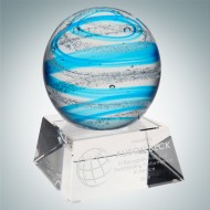 Art Glass Blue Jupiter Award with Clear Base