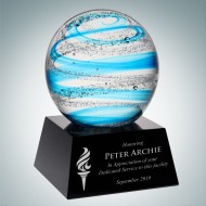 Art Glass Blue Jupiter Award with Black Base