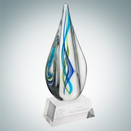 Art Glass Teal Aurora Award with Clear Base