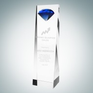 Embedded Blue Diamond Crystal Award