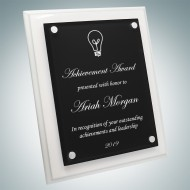 Floating Black Acrylic Plate on Gloss Horiz./Verti. White Wood Plaque