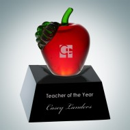 Red Apple Award with Black Crystal Base