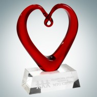 Art Glass The Whole Heart Award with Clear Base