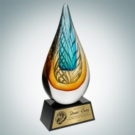 Art Glass Desert Sky Award with Black Base