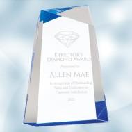 Blue Facet Wedge Acrylic Award