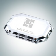 Crystal Beveled Rectangle Paperweight
