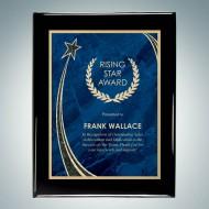 Blackwood Piano Finish Horizontal/Vertical Plaque - Blue Rising Star Plate