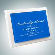 Whitewood Piano Finish Plaque - Floating Blue Glass